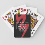 """BMB Playing Cards with Saying &amp; Logo<br><div class=""""desc"""">A deck of cards featuring the BMB logo as a backdrop to the saying Eat   Sleep   March   Repeat</div>"""