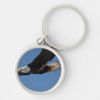 BMIS Bald Eagle on a Mission Silver-Colored Round Keychain