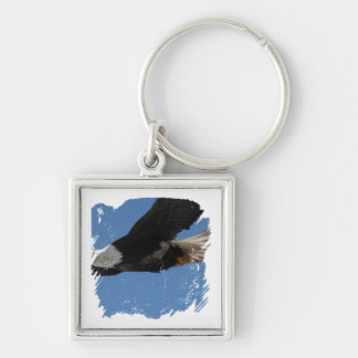 BMIS Bald Eagle on a Mission Silver-Colored Square Keychain