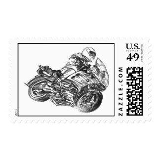 BMW Motorcycle Rider Postage Stamp