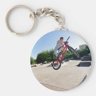 BMX Bike Stunt bar spin Basic Round Button Keychain