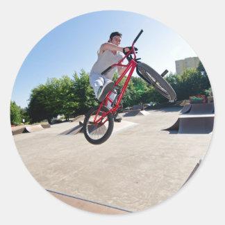 BMX Bike Stunt bar spin Classic Round Sticker