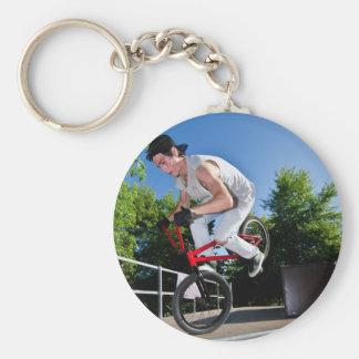 BMX Bike Stunt Basic Round Button Keychain