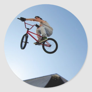 BMX Bike Stunt Table Top Classic Round Sticker