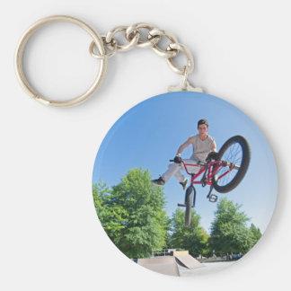 BMX Bike Stunt tail whip Basic Round Button Keychain