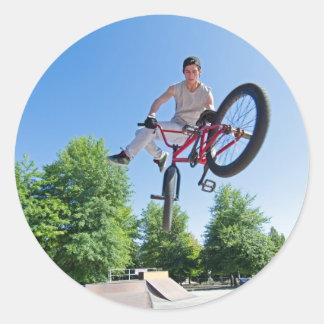 BMX Bike Stunt tail whip Classic Round Sticker