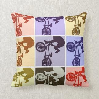 BMX Biker Pop Art Throw Pillow