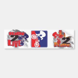 BMX Biker Red White and Blue Car Bumper Sticker