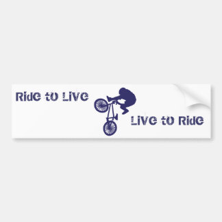 BMX Biker Ride to Live Live to Ride Car Bumper Sticker