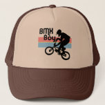 """BMX Boy / BMX Girl Trucker Hat<br><div class=""""desc"""">In the Eighties, BMX bikes were huge, and every kid either had a BMX, wanted a BMX, or in some cases hated BMXs with a passion. In any case, they were impossible to ignore. Taking starring roles in movies like E.T. and BMX Bandits, the bikes were a solid part of...</div>"""
