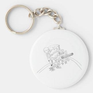 BMX Cartoon Basic Round Button Keychain