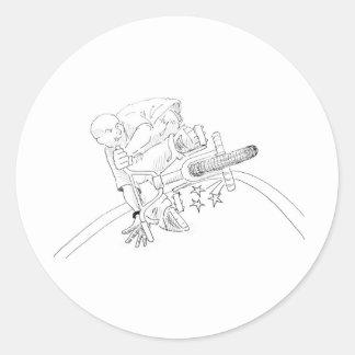 BMX Cartoon Round Sticker