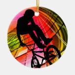 BMX en líneas y círculos Ornaments Para Arbol De Navidad