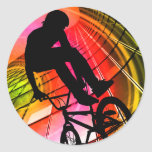 BMX en líneas y círculos Etiqueta Redonda