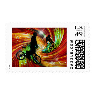BMX ers in Red and Orange Grunge Swirls Postage