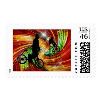 BMX ers in Red and Orange Grunge Swirls Stamps