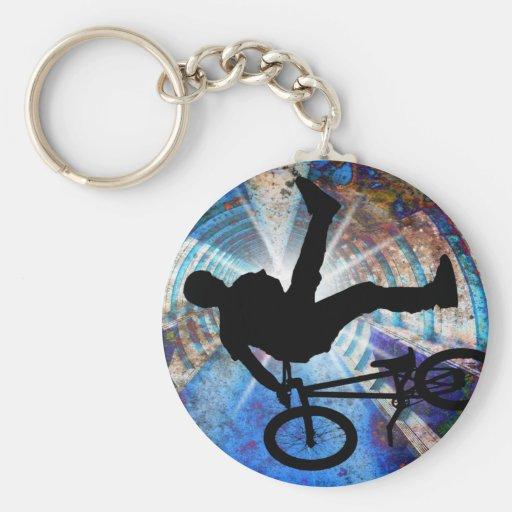 BMX in a Grunge Tunnel Basic Round Button Keychain