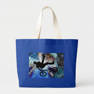BMX in a Grunge Tunnel Large Tote Bag