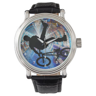 BMX in Grunge Tunnel Wrist Watches