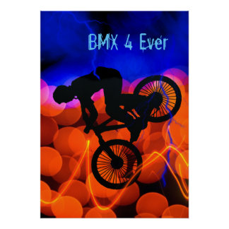 BMX in Light Crystals and Lightning Poster