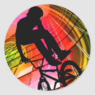 BMX in Lines & Circles Classic Round Sticker