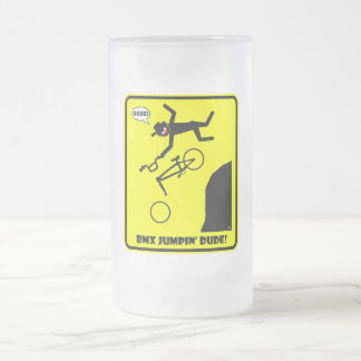 BMX JUMPIN'-21 FROSTED GLASS BEER MUG