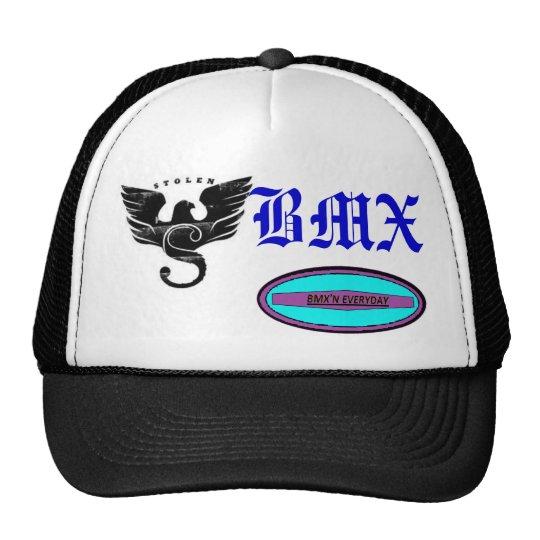 bmx logo an my company logos trucker hat
