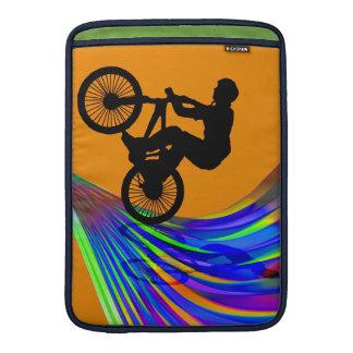 BMX on Rainbow Road MacBook Sleeves