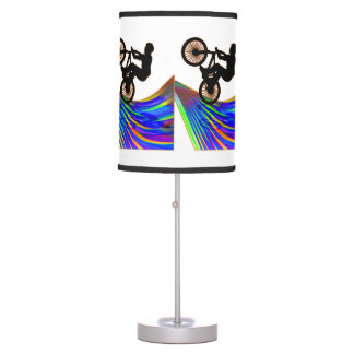 BMX  on Ribbon Road on ANY COLOR BACKGROUND Desk Lamp
