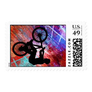 BMX on Rusty Grunge Postage Stamps