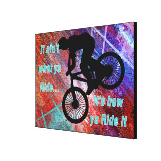 BMX on Rusty Grunge Risk How Ya Ride It Stretched Canvas Print