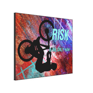 BMX on Rusty Grunge Risk is the Only Rule Canvas Prints