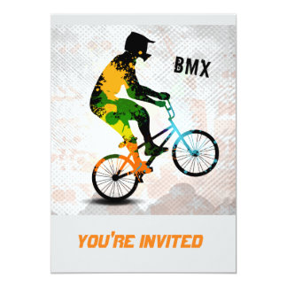 BMX Rider in Abstract Paint Splatters SQ WITH TEXT 5x7 Paper Invitation Card