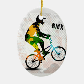 BMX Rider in Abstract Paint Splatters SQ WITH TEXT Ceramic Ornament
