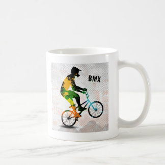 BMX Rider in Abstract Paint Splatters SQ WITH TEXT Coffee Mug
