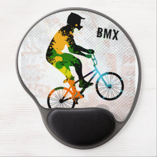 BMX Rider in Abstract Paint Splatters SQ WITH TEXT Gel Mouse Pad