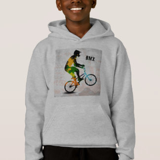 BMX Rider in Abstract Paint Splatters SQ WITH TEXT Hoodie