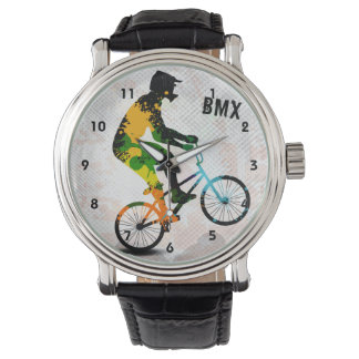 BMX Rider in Abstract Paint Splatters SQ WITH TEXT Wristwatch