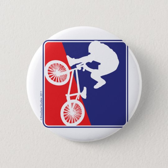 BMX Rider in Red White and Blue Button