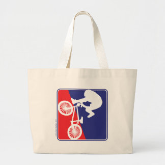 BMX Rider in Red White and Blue Large Tote Bag