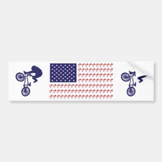 BMX Rider - Patriotic American Flag+ Car Bumper Sticker