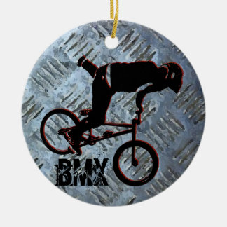 BMX Rules Christmas Ornament, Copyright Karen J Wi Double-Sided Ceramic Round Christmas Ornament