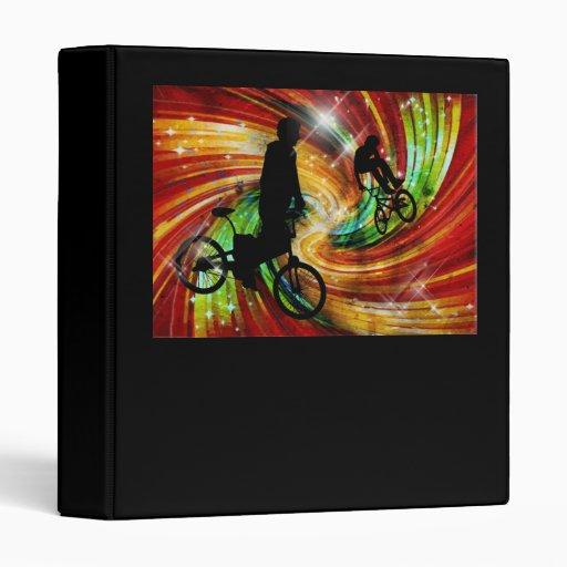 BMXers in Red and Orange Grunge Swirls Vinyl Binders
