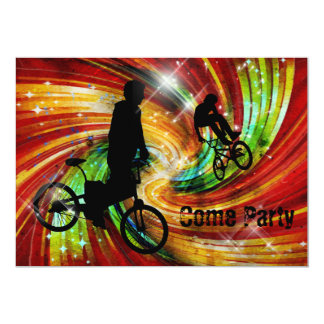 BMXers in Red and Orange Grunge Swirls Card