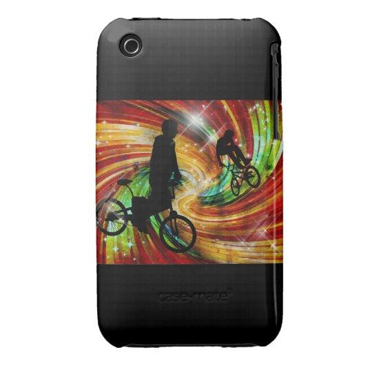 BMXers in Red and Orange Grunge Swirls Case-Mate iPhone 3 Case