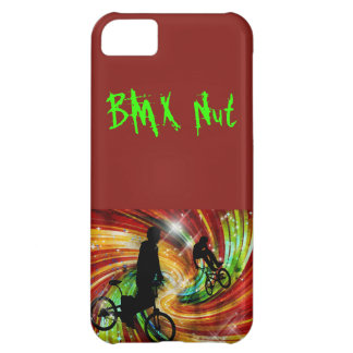 BMXers in Red and Orange Grunge Swirls Cover For iPhone 5C