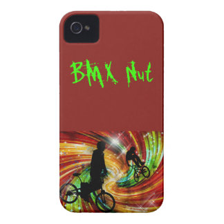 BMXers in Red and Orange Grunge Swirls iPhone 4 Case