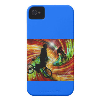 BMXers in Red and Orange Grunge Swirls iPhone 4 Case-Mate Cases