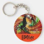 BMXers in Red and Orange Grunge Swirls Keychain