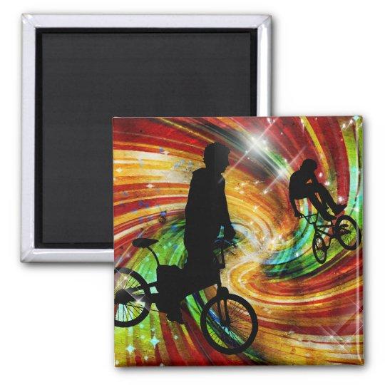 BMXers in Red and Orange Grunge Swirls Magnet